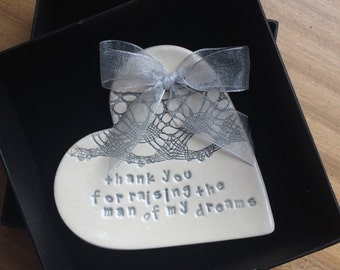 Silver grey mother of the bride groom ring plate keeper thank you ceramic heart gift