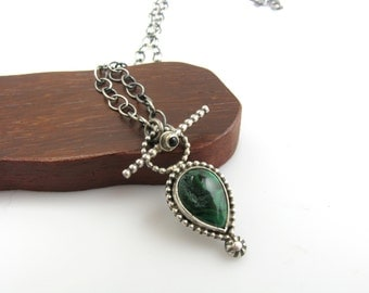Sterling Silver Malachite Onyx Toggle Clasp Necklace Malachite Druzy Necklace Green Malachite Sterling Silver Teardrop Necklace