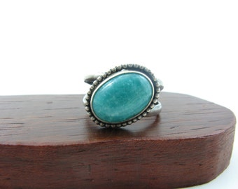 Amazonite Gemstone Sterling Silver Ring Size 7.5 Offset Turquoise Color Gemstone Handmade Metal Jewelry Amazonite Jewelry Gifts Under 75