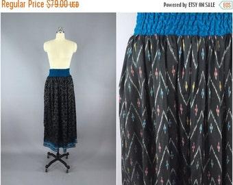SALE - Silk Sari Maxi Skirt / Vintage Indian Sari / Black IKAT Print / Boho Skirt / Long Skirt / Size Small to Medium S M  Tall