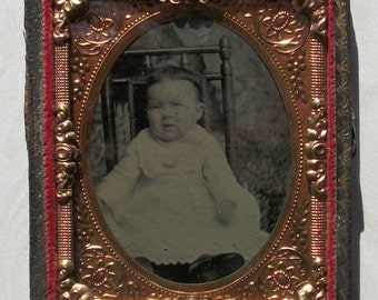 Half Case Tintype - Baby in White Dress