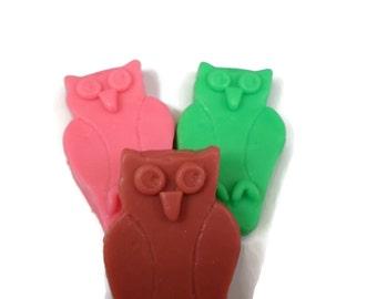 Owl Soaps   3 Surprise Color/ScentGuest Size Owl Soap Set   Home Decor Soap Set   Gift for Owl Lover   Animal Soap   Bird Soap
