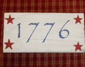 Americana Patriotic 1776 Red White and Blue Primitives Wood Sign Decor Rustic Wooden Distressed Decoration 8 1/2 Inches Stars wvluckygirl