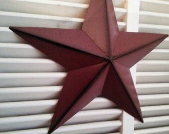 "Rustic 12""  Burgundy Metal Barn Star Americana Primitive Crafts Making Wreaths Swags Frame"