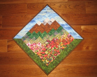 Blue Lake Tahoe Skies and Mountains, Diagonal Fabric Wallhanging, Landscape Art Quilt, Rustic Cabin Lodge, Wall Art Quilt Flowers Mountains