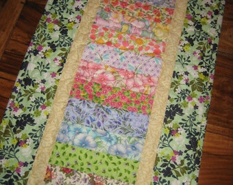 Shabby Chic Quilted Table Runner Pastel Floral Pink Purple Aqua Blue Yellow, Wide Reversible Runner, Cottage Charm Long Runner Handmade