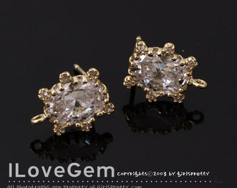 NP-1777 Gold Plated, Oval CZ, Earrings, 925 sterling silver post, 2pcs