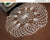 Crochet Doily, Lacy and Open Worked, Off White, Crocheted Centerpiece 13210