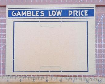 Vintage Store Price Display Gamble's Low Price