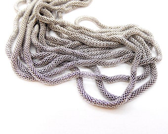 Rhodium Plated Steel Chain, Hollow Mesh Chain, Net Chain, Round Chain 3mm- 7 1/2 inches/19cm (1 piece)