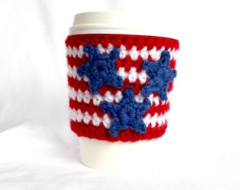 Three star stripe  travel mug cup cozy coffee crochet red white and blue