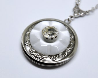 Vintage Button Locket Necklace, Antique Silver Locket, Rhinestone Button Necklace, White Button Necklace, White Locket, Rhinestone Locket