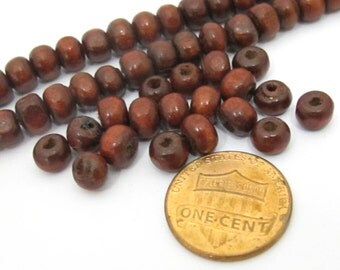 25 BEADS  -  Small size 6 mm Tibetan wood beads strand from Nepal  - ML034B