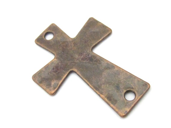 2 pieces - Hammered Copper tone cross connector charms bracelet bead - BD899