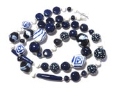 Navy Blue and White Kazuri Bead Necklace, Fair Trade Beads, Ceramic Necklace, Statement Necklace