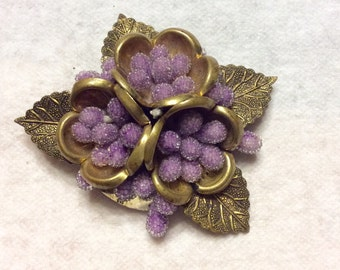 Vintage 1930's czechoslovakia purple sugar beads floral brooch pin.