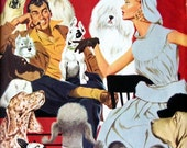 """1953 Magazine Page Illustration """"The Dog That Caught A Husband"""" Illustrated by Fredric Varady,  Lady, Man with Dogs Smoking a Pipe"""