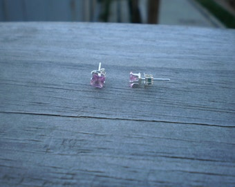 Square Faceted Lab Created Pink Sapphire Stud Earrings 4mm
