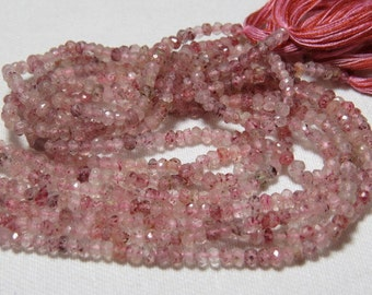 14 inches - So Gorgeous High Quality Natural  - Strawberry Quartz  - Micro Faceted Roundell Beads super Sparkle size 3 mm approx