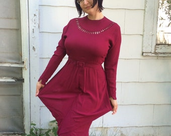 Peplum Dress Dark Red Berry Jam Vintage Fanya 50s 40s M L