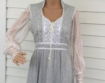 SHOP SALE Gunne Sax Floral Gown Blue Dress Western Country Lace Corset 11 S M
