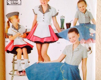 Uncut, Mid Century, Simplicity 3836, Sewing Pattern, by Andrea Schewe, Girl's Costume, Poodle Skirt, Roller Skate Waitress, Sz 3, 4, 5, 6