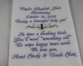 Christening - Baptism - Embroidered Handkerchief - Keepsake- Gift - Simply Sweet Hankies
