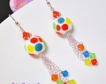 Rainbow Polka Dot  Lampwork Earrings w/ Sterling Silver Chain Drop, Matte Crystal Beaded Lampwork Earings