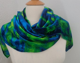 Scarf Silk Velvet Turquoise Yellow Green Large Size