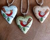 Heart Pendant-Hand Painted English Robin-Ceramic Pendant