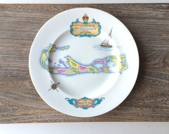 Vintage Bermuda Islands Collector Dinner Plate - Shelley Porcelain England - Made Especially for H.A.& E. Smith Ltd - Sailing Yachting Prep