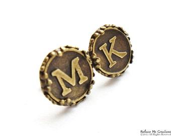 Custom Monogram Initial Alphabet Antique Brass Earring Studs For Her