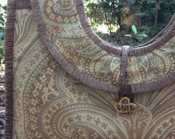 Evening Bag - Silk Paisley - Spa Blue and Gold Shoulder Bag - Across Shoulder Strap - Unique Light Turquoise Highlights After Five Bag