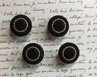Vintage Button Push Pins - Black and Gold Thumb Tacks - Statement Home Decor - 4 New Vintage Stock Button Push Pins