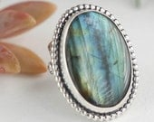 Boho Labradorite Cocktail Ring in Sterling Silver, Sterling silver jewelry