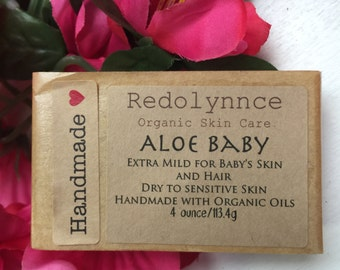 Aloe Baby--Organic Vegan Soap Bar made with Essential Oils. GMO free.