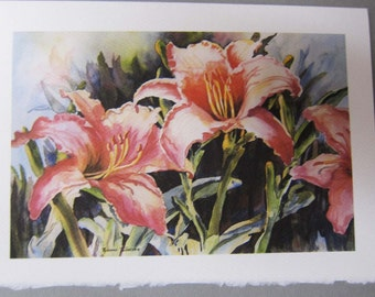 Hot Lilies 5 x 7 Note Card Art Can PERSONIZE for Mothers Day Greeting cards Blank