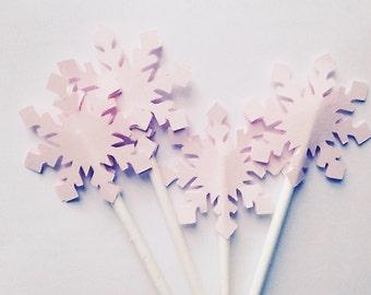 Pink lavender silver snowflake cupcake topper cut outs