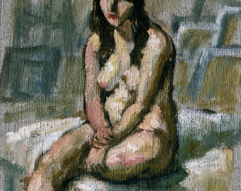 Daydream, Seated Female Nude. Small Original Oil on Unstretched Canvas, 5x7 Realist Fine Art, Signed Original Figure Painting