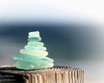 Cairn Photo- Aqua Beach Glass, Beach Photography, Balance, Zen Decor, Calming, Dreamy Wall Art, Journey, Bokeh, Macro, Meditation, Coastal