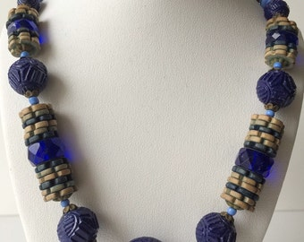 Antique Blue Carved Glass Beaded Necklace W. Germany?