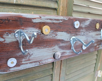 Wood Coat Rack - Vintage Hooks - Shot gun shells - Rustic Cabin Decor