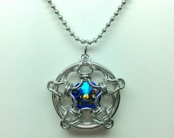 Estrella Chainmaille wrapped Swarovski Crystal Pendant