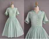 50s mint green cotton vintage shirt dress / vintage 1950s dress