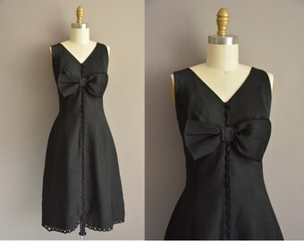 Susan Lynn of California 50s black large bow vintage dress / 1950s dress