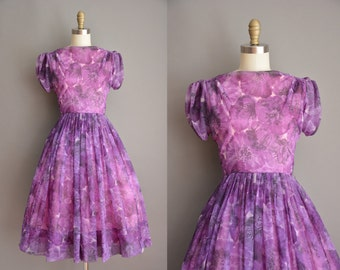 50s purple chiffon floral full skirt vintage dress / vintage 1950s dress