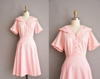 50s pink swiss dot scallop cut vintage dress / vintage 1950s dress