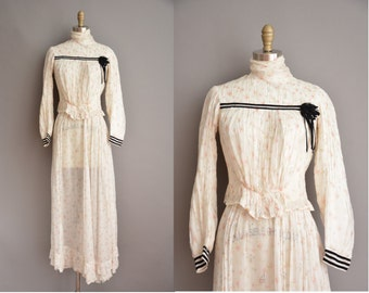 antique 1910s floral cotton blouse and skirt vintage set / vintage 1910s dress