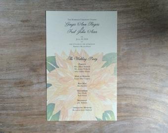 Wedding Program - Printed cards - Peach Dahlia watercolor flowers