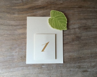 Green Leaf Table Numbers  - Wedding table setting seating decorations
